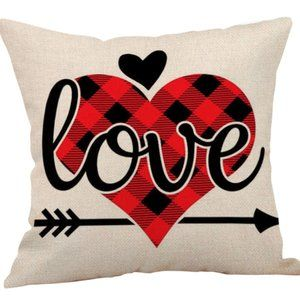 Pillow Cover- NEW- Plaid Valentine Love Heart